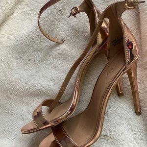 Rose gold high heels